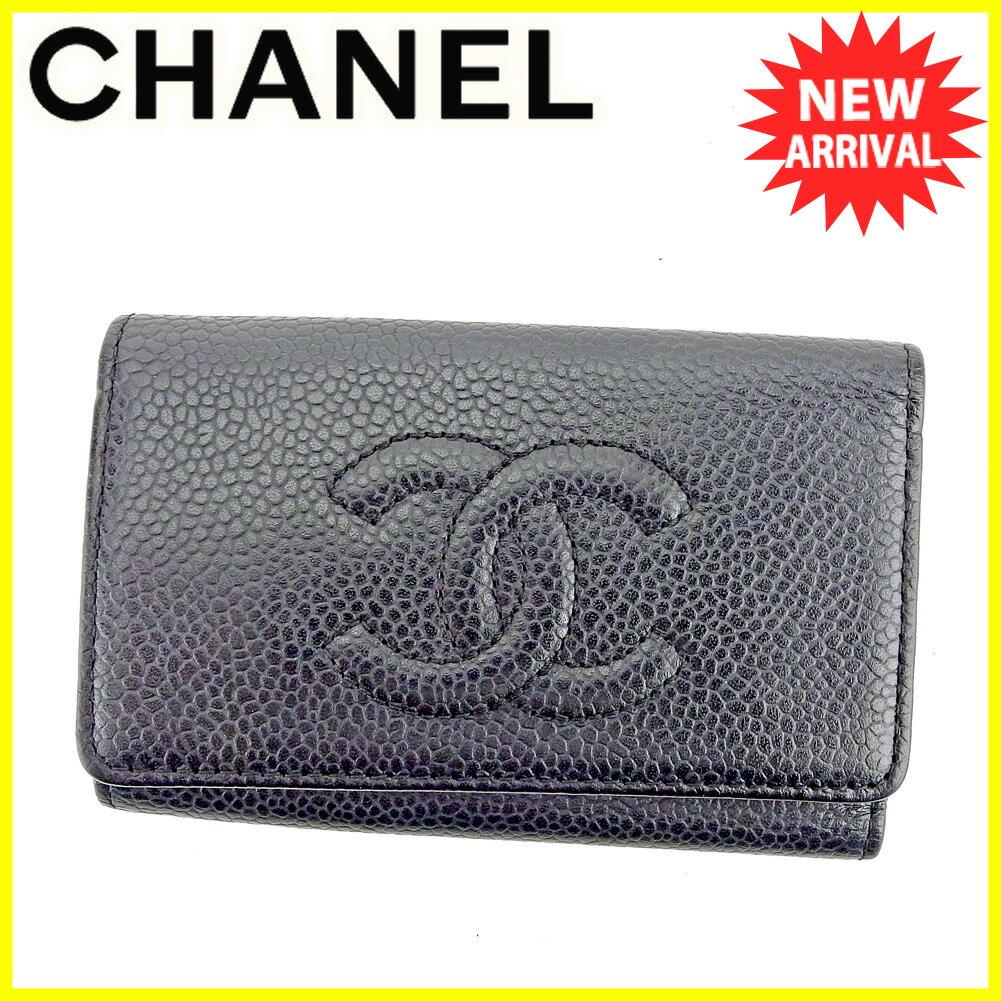シャネル キーケース Chanel ブラック ゴールド 【中古】 T5562s .