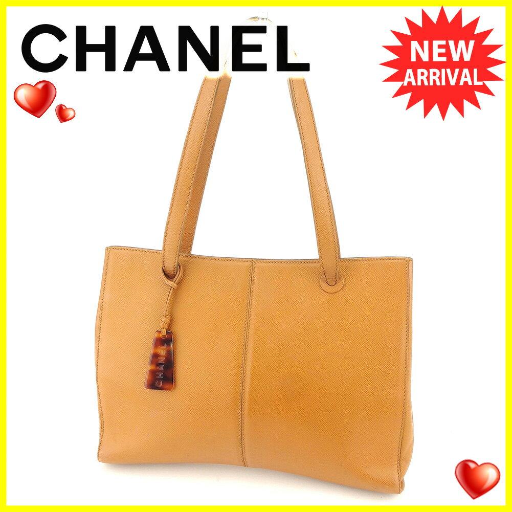 【お買い物マラソン】 【中古】 シャネル トートバッグ トート ショルダーバッグ Chanel ベージュ ブラウン T5845s
