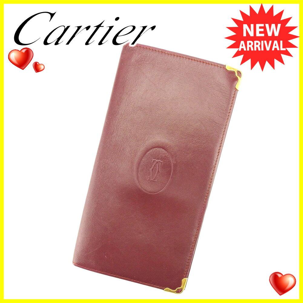 【お買い物マラソン】 【中古】 カルティエ 長札入れ 札入れ Cartier ボルドー ゴールド T6042s .