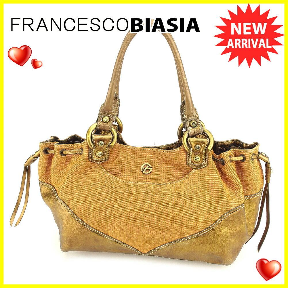 フランチェスコ ビアジア ショルダーバッグ トートバッグ バッグ Francesco Biasia ベージュ ブラウン ゴールド 【中古】 T6064s .