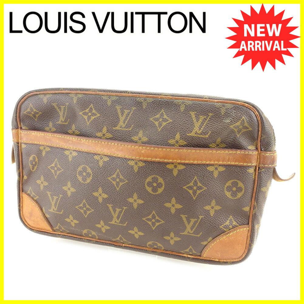【お買い物マラソン】 【中古】 ルイ ヴィトン クラッチバッグ セカンドバッグ Louis Vuitton ブラウン ベージュ ゴールド T6068s