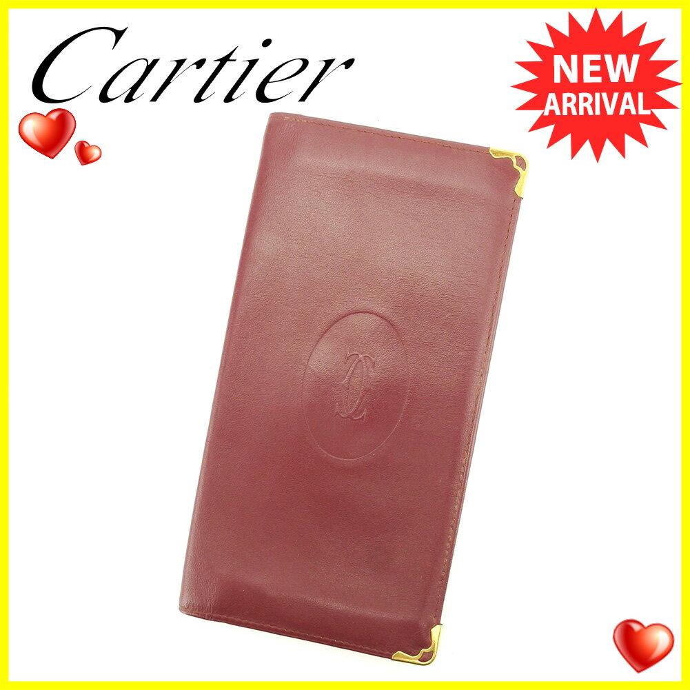 【中古】 カルティエ 長札入れ 札入れ Cartier ボルドー ゴールド T6093s .