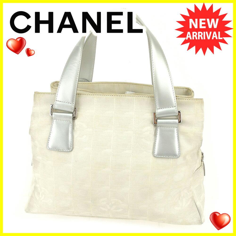 【中古】 シャネル トートバッグ トート ハンドバッグ Chanel ベージュ グレー 灰色 シルバー T6136s