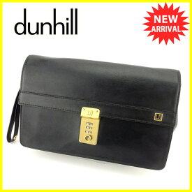 【中古】 ダンヒル dunhill クラッチバッグ セカンドバッグ レディース メンズ 可 ブラック レザー 人気 T6195