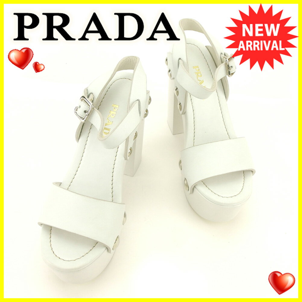 【中古】 プラダ PRADA サンダル 靴 シューズ レディース #36ハーフ ホワイト 白 レザー 人気 良品 T6209