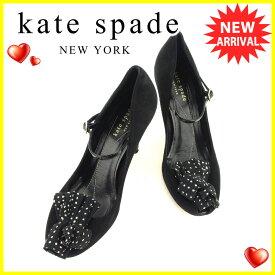 【中古】 ケイト スペード kate spade パンプス シューズ 靴 レディース ♯7ハーフ オープントゥ ドット柄モチーフ ブラック ホワイト 白 ゴールド スエード×エナメルレザー 良品 T6295 .