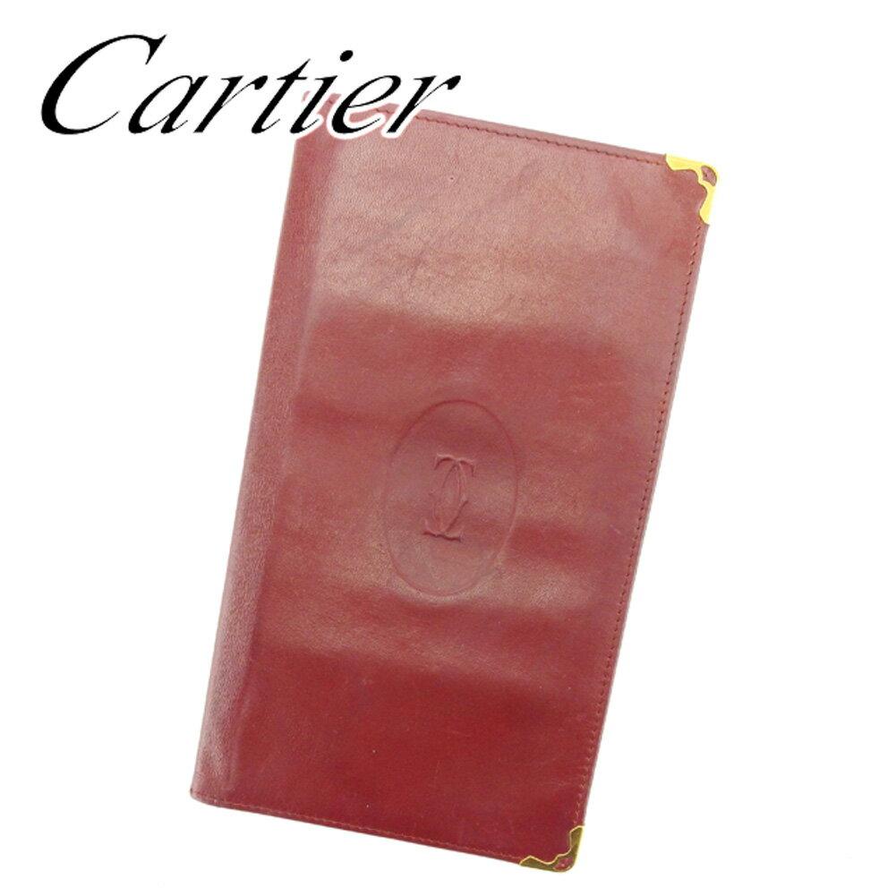 【お買い物マラソン】 【中古】 カルティエ 長札入れ 札入れ Cartier ボルドー ゴールド T6373s .