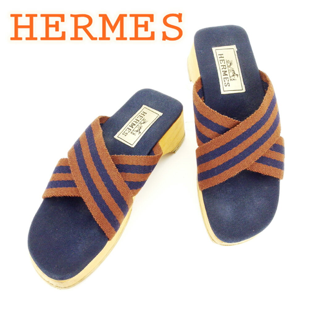 【中古】 エルメス HERMES サンダル シューズ 靴 レディース ♯35 ウッドソール ブラウン ネイビー ベージュ キャンバス×ウッド 人気 T6391
