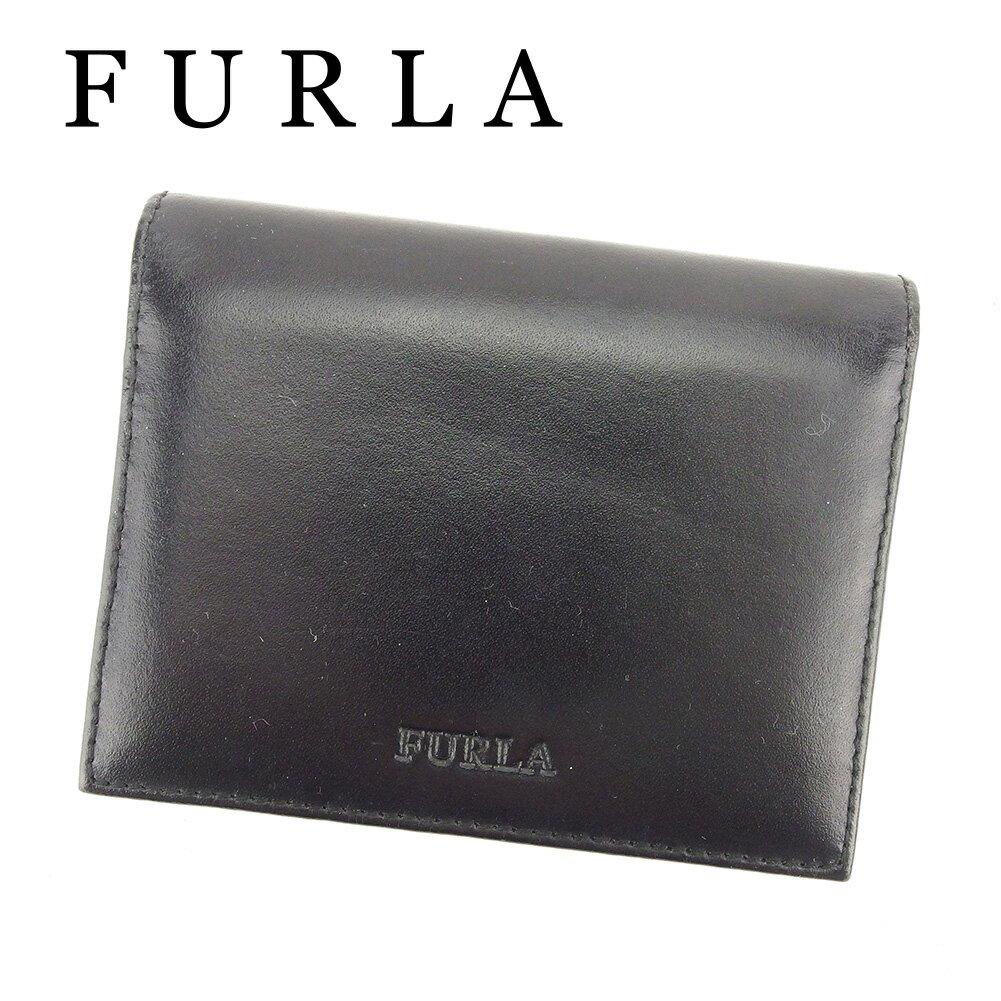 【中古】 フルラ FURLA カードケース 名刺入れ レディース メンズ 可 ロゴ ブラック レザー 美品 T6428 .