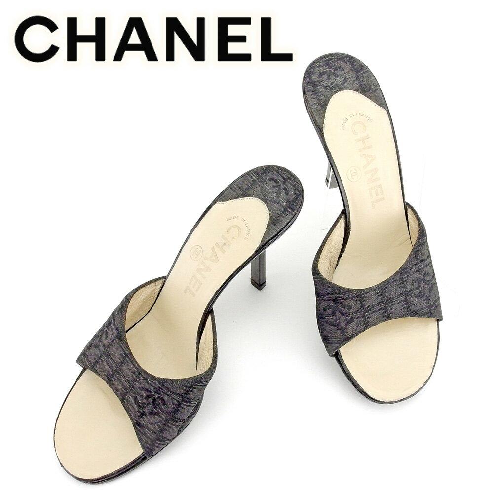 【中古】 シャネル CHANEL サンダル 靴 シューズ レディース #36 ニュートラベルライン ブラック キャンバス×レザー 人気 セール T6447