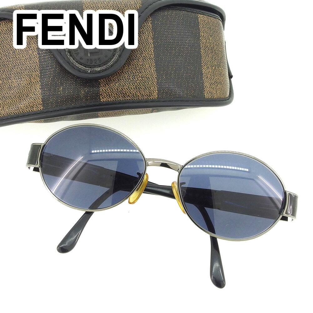 【中古】 フェンディ FENDI サングラス アイウエア レディース メンズ 可 度入り ロゴ ブラック 人気 セール T6490