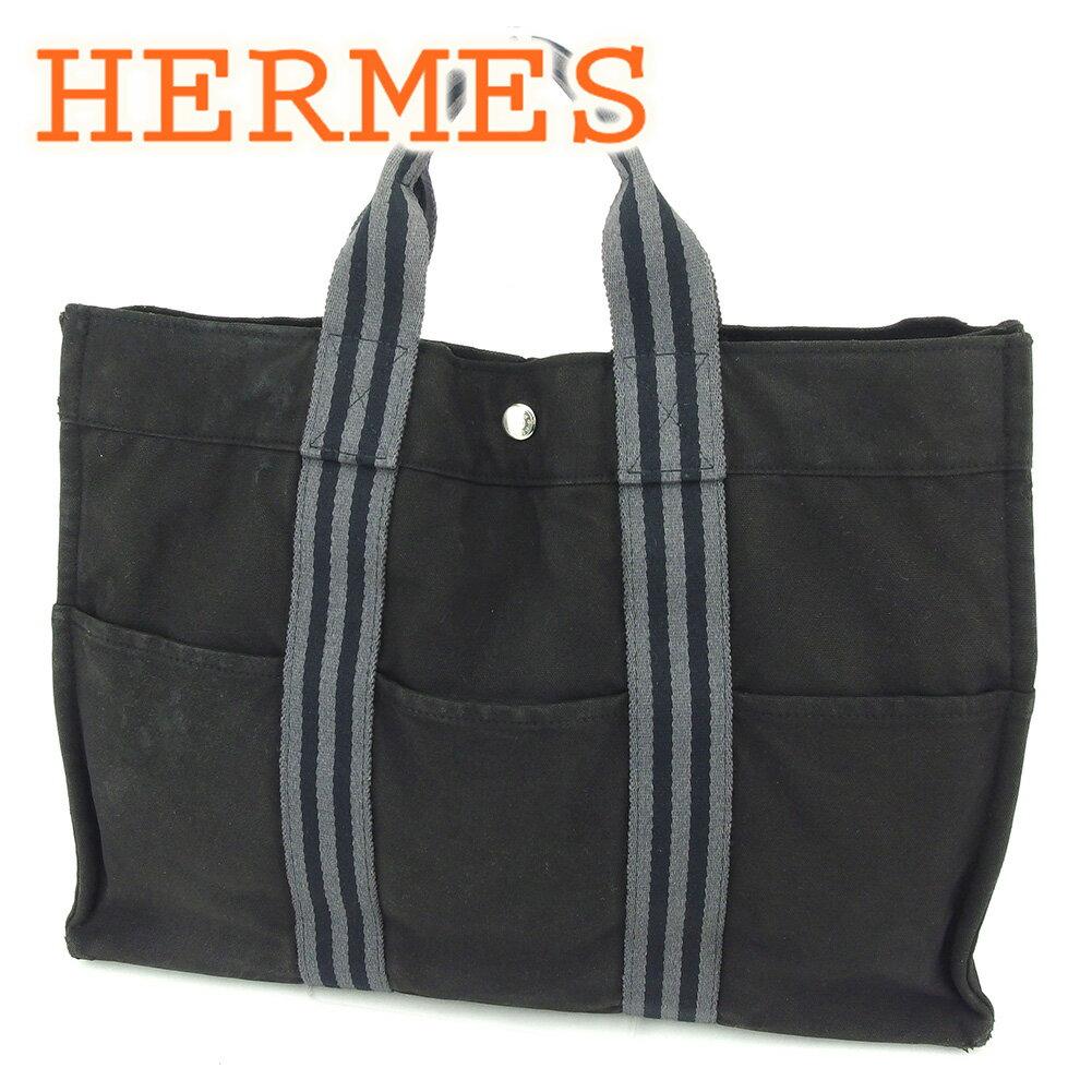 【中古】 エルメス HERMES トートバッグ ハンドバッグ レディース メンズ 可 フールトゥトートMM フールトゥ ブラック 綿100% 人気 セール T6499