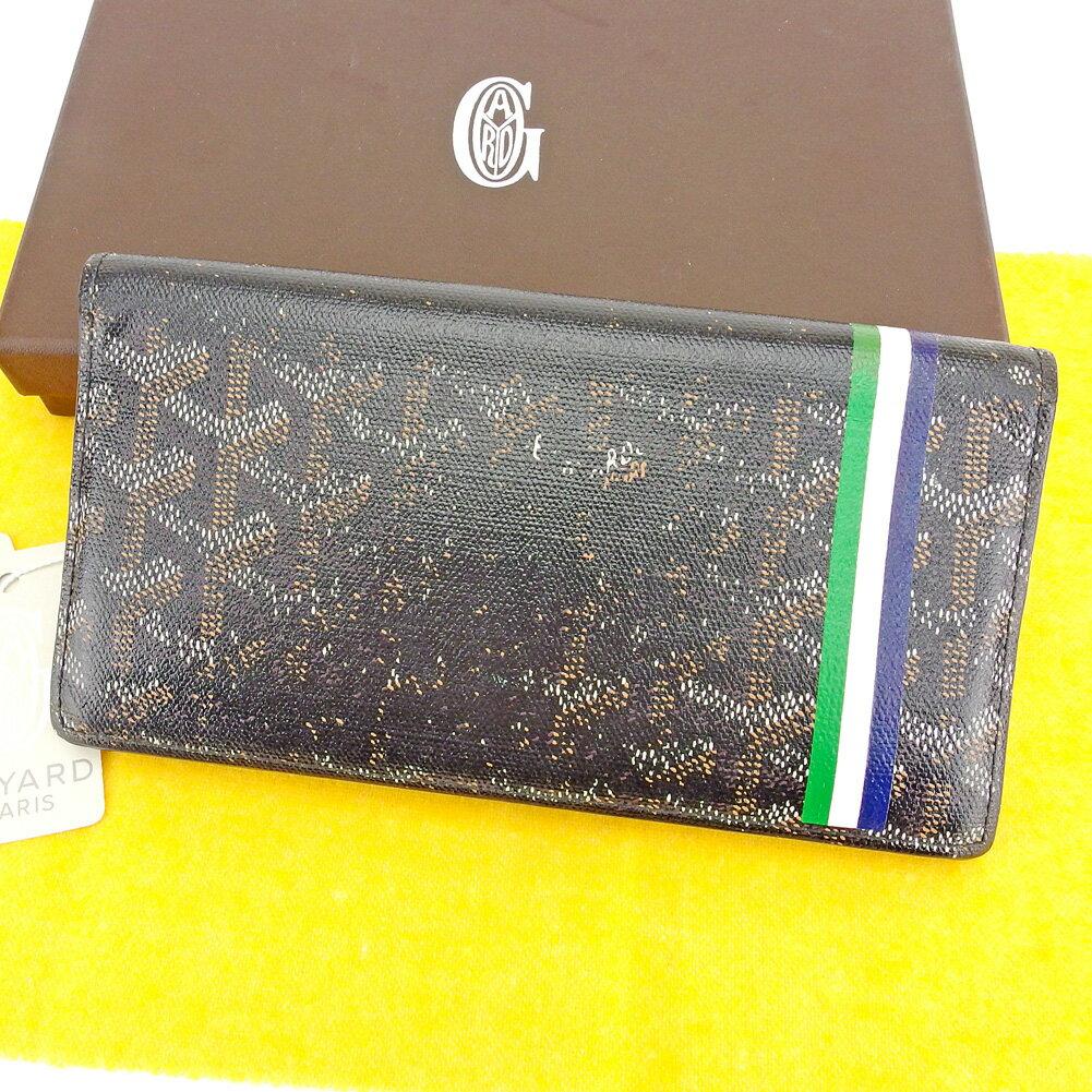 【中古】 ゴヤール GOYARD ファスナー 財布 長財布 二つ折り財布 メンズ可 ヘリンボーン ブラック PVC×レザーファスナー 財布 T6557s