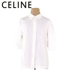 【中古】 セリーヌ CELINE シャツ レディース ♯44サイズ 5分袖 ホワイト 白 コットン65%シルク31%ポリウレタン4% 人気 セール L1959 .