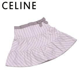 【中古】 セリーヌ CELINE スカート リボン フレアー ガールズ レディース ♯130 ベージュ グレー 灰色 コットン綿100%(別布)コットン綿100% T12207