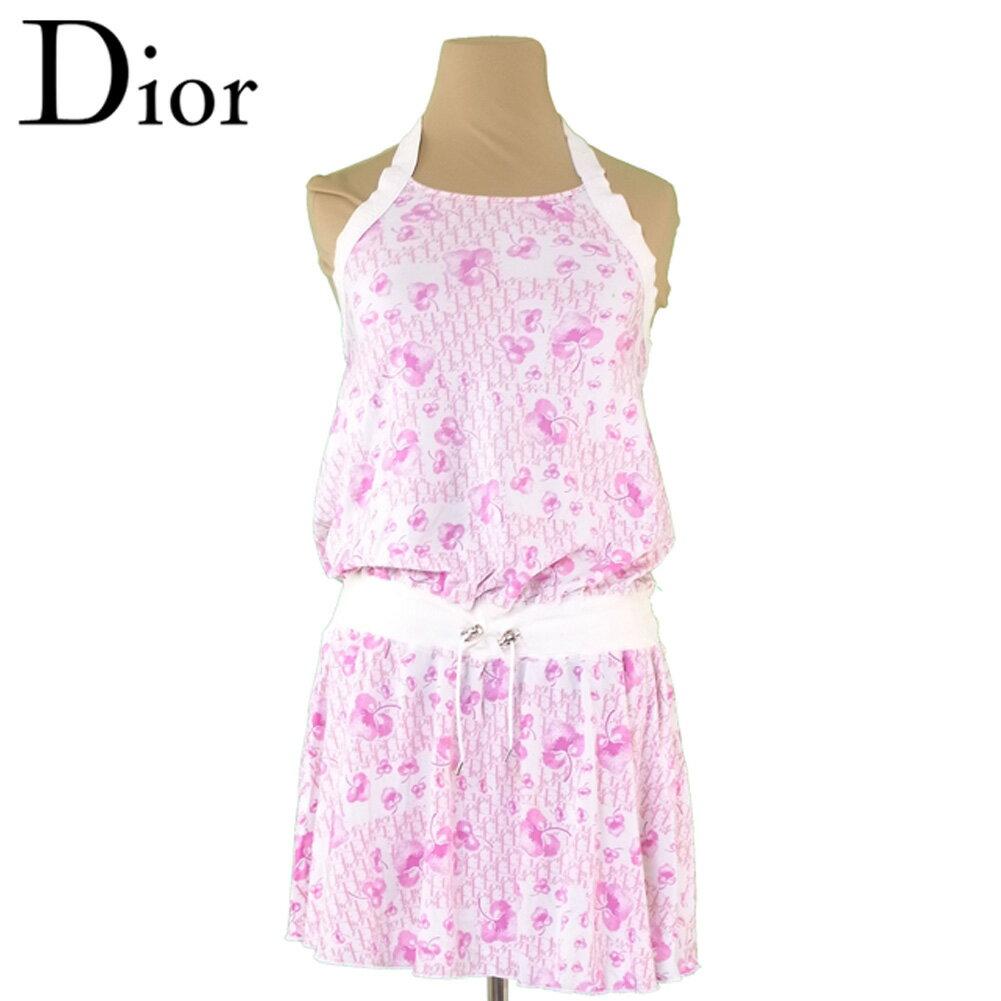 【中古】 ディオール Dior ワンピース ホルターネック ガールズ レディース 12A トロッターフラワー ホワイト 白 ピンク シルバー ナイロンNY/85%エラスタンEA/15%(別布)コットンCO/95%エラスタンEA/5% 廃盤 レア T3954