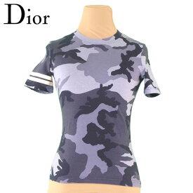 【中古】 ディオール Dior Tシャツ 袖ライン入り レディース ♯USA4サイズ 迷彩 グレー 灰色 ブラック系 コットンCO/100% 訳あり セール T4133 .