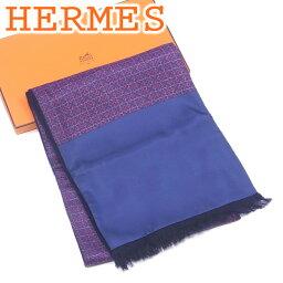 有愛馬仕HERMES圍巾邊緣的貨攤女子的男子的可的可逆印刷深藍紅派絲綢100%羊絨70%羊毛超過30%美品促銷T4147