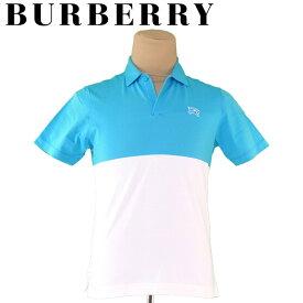 【中古】 バーバリー ゴルフ BURBERRY GOLF ポロシャツ 半袖 メンズ ♯2サイズ ブルー ホワイト 白 コットン綿54%ポリエステル46% T4337