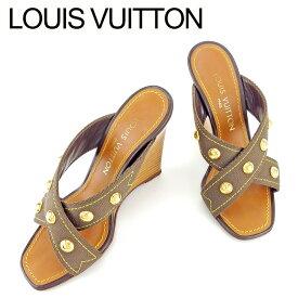 【ファッションセール】 【10%オフ】 【中古】 ルイ ヴィトン Louis Vuitton サンダル 靴 ウエッジソール レディース #35 ブラウン ゴールド キャンバス×レザー T6614 .