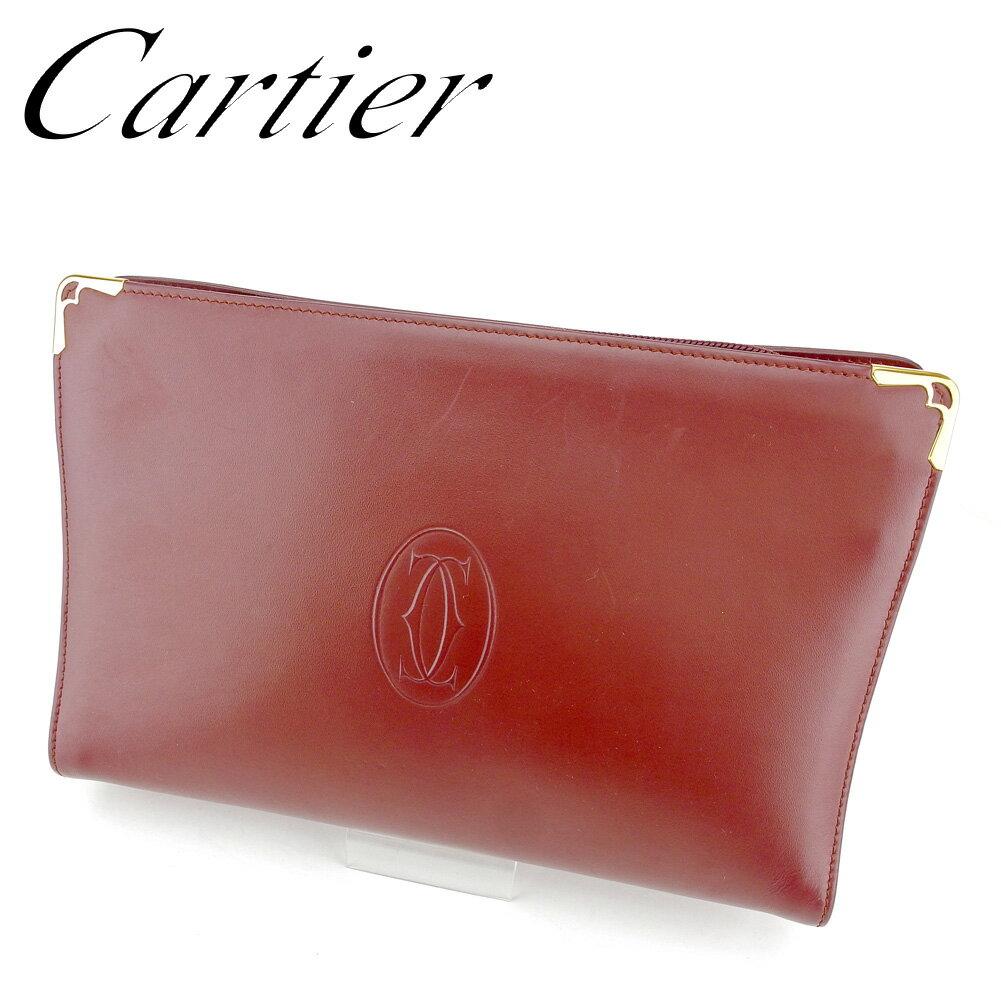 【中古】 カルティエ Cartier クラッチバッグ セカンドバッグ レディース メンズ 可 マストライン ボルドー キャンバス×レザー 人気 セール T6628 .