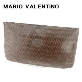 【中古】 マリオ ヴァレンティノ MARIO VALENTINO ポーチ 化粧ポーチ レディース メンズ 可 ブラウン PVC×レザー T6683 ブランド