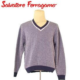 【中古】 サルヴァトーレ フェラガモ Salvatore Ferragamo ニット Vネック セーター メンズ ♯Sサイズ ヘリンボーン ネイビー ブルー系 コットンCO/54%ウールWO/34%ナイロンNY/12% 人気 セール T5134 .