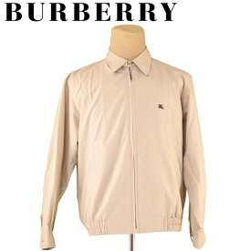 【中古】 バーバリー BURBERRY ジャケット ブルゾン アウター メンズ ♯LLサイズ ホース刺繍 ベージュ ネイビー コットン綿55%ナイロン45% T5524