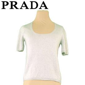 【中古】 プラダ PRADA ニット 半袖 セーター レディース ♯42サイズ ラウンドネック グリーン 良品 セール T5610 .