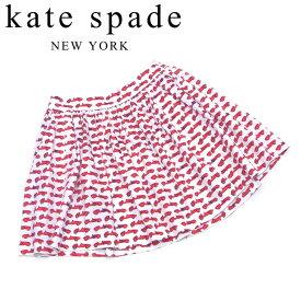 【スーパーSALE】 【20%オフ】 【中古】 ケイト スペード スカート フレアー ♯4サイズ リブカラフリー 車プリント ホワイト 白 レッド系 コットン綿96%ポリウレタン4% kate spade 【ケイト・スペード】 C4029