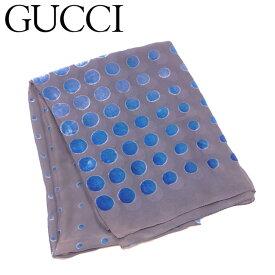 【中古】 グッチ GUCCI ストール 大判サイズ レディース スカーフ グレー 灰色 ブルー シルク50%レーヨン50% T6505