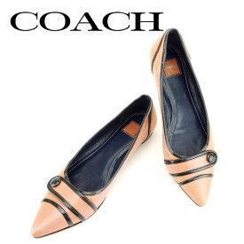 45ce737b0284 【中古】 コーチ COACH パンプス 靴 シューズ メンズ可 #6 ブラック ピンク レザー 人気