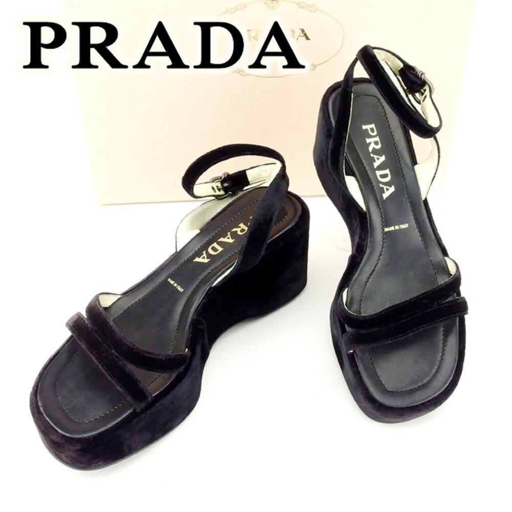 【中古】 プラダ Prada サンダル 靴 シューズ ブラック #36 メンズ可 T6752s