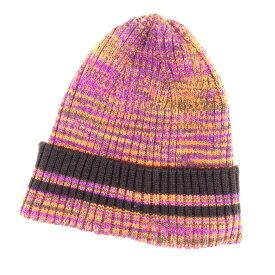【中古】 ミッソーニ MISSONI ニット帽 帽子 レディース メンズ 可 オレンジ パープル ウール×ポリエステル T6758 .