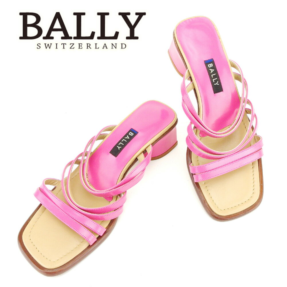 【中古】 バリー BALLY サンダル 靴 シューズ メンズ可 #5 ピンク ベージュ エナメル×レザー 人気 セール T6762