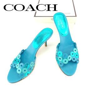 【中古】 コーチ Coach ミュール シューズ 靴 ブルー グリーン ♯8ハーフB サンダル リングモチーフバンド レディース T6844s .