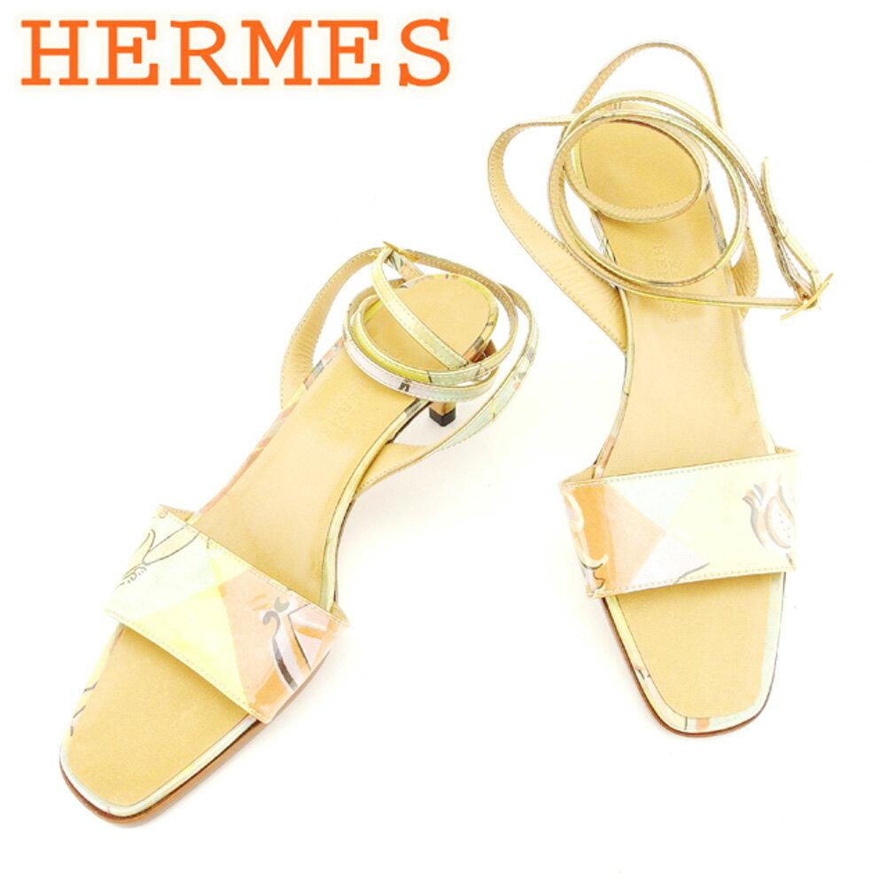 【中古】 エルメス Herm?s サンダル シューズ 靴 ベージュ #36ハーフ レディース T6894s