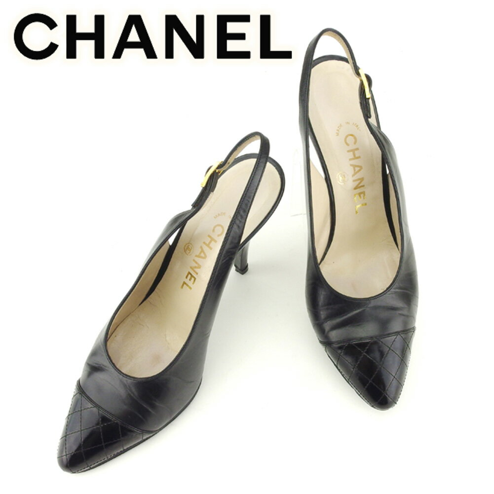 【中古】 シャネル CHANEL パンプス シューズ 靴 レディース ♯35ハーフ スリングバック マトラッセ ブラック ゴールド レザー 人気 セール T6991
