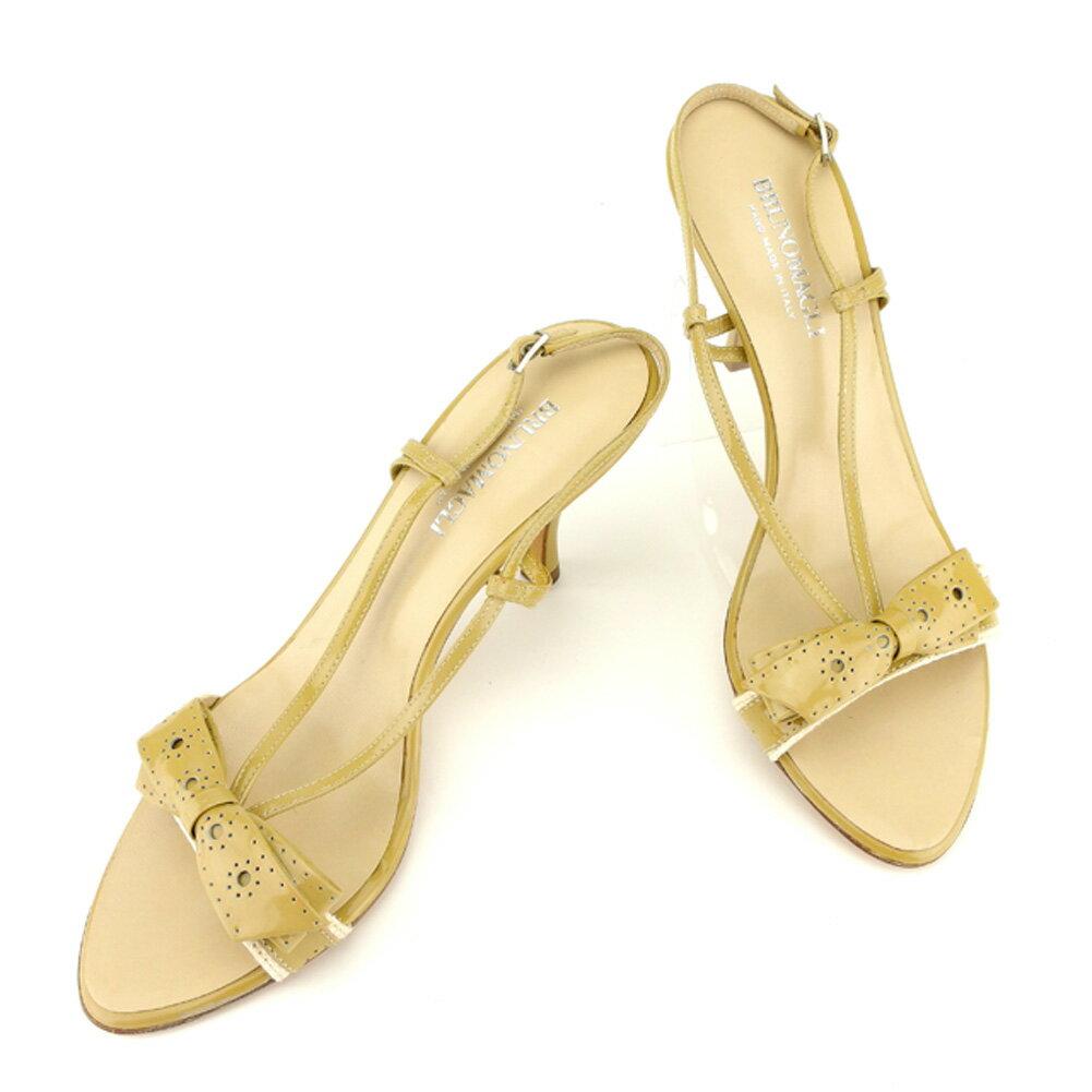 【中古】 ブルーノ マリ Bruno Magli サンダル シューズ 靴 ベージュ シルバー ♯38スリングバック パンチングリボン レディース T6993s