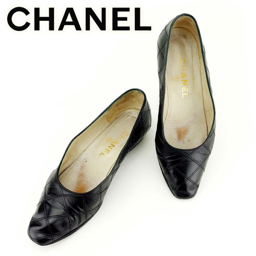 【楽天スーパーSALE】 【20%オフ】 【中古】 シャネル CHANEL パンプス シューズ 靴 メンズ可 ♯36 マトラッセ ダブルステッチ ブラック レザー 人気 セール T7010