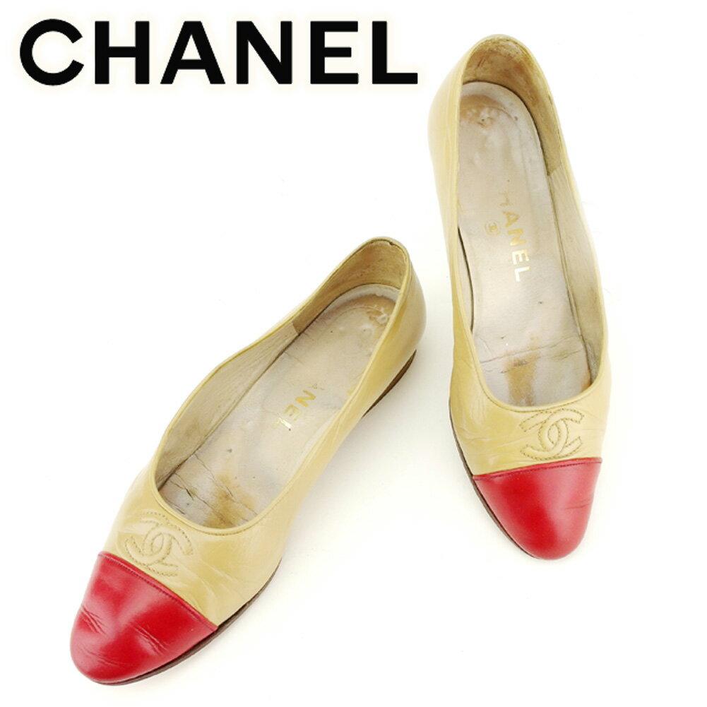 【中古】 シャネル Chanel パンプス シューズ 靴 ベージュ レッド ココマークステッチ バイカラー レディース T7017s