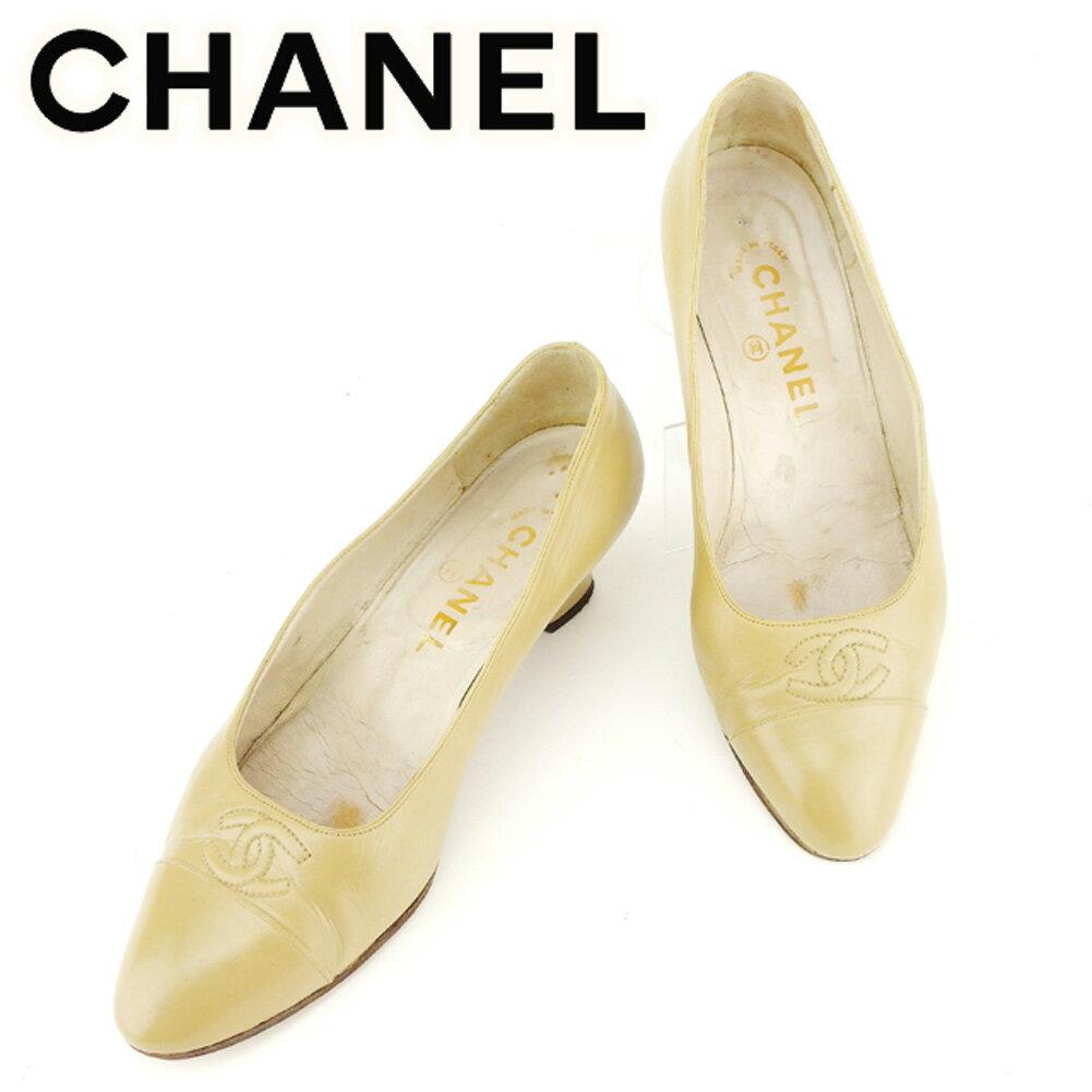 【中古】 シャネル CHANEL パンプス シューズ 靴 レディース ♯6 ラウンドトゥ ココマークステッチ ベージュ レザー 人気 セール T7019