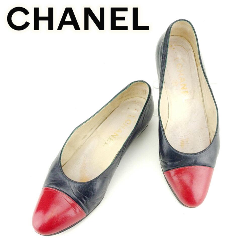 【中古】 シャネル CHANEL パンプス シューズ 靴 レディース ♯36 ラウンドトゥ バイカラー ネイビー レッド レザー 人気 セール T7021