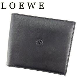 bf05f5fa86dc 【中古】 ロエベ LOEWE 二つ折り 札入れ メンズ アナグラム ブラック ラムレザー 美品 セール T7113
