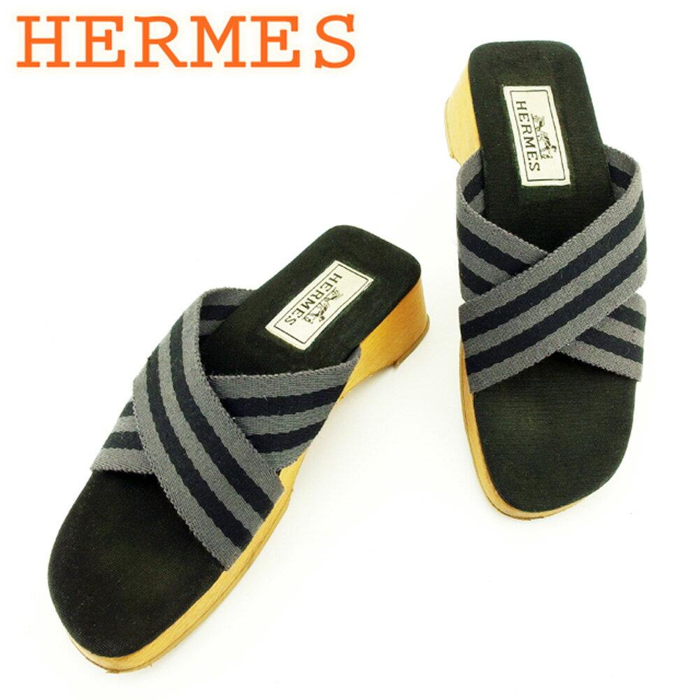 【中古】 エルメス HERMES サンダル シューズ 靴 レディース ♯36 ウッドソール フールトゥ グレー 灰色 ブラック ベージュ キャンバス×ウッド 人気 セール T7134