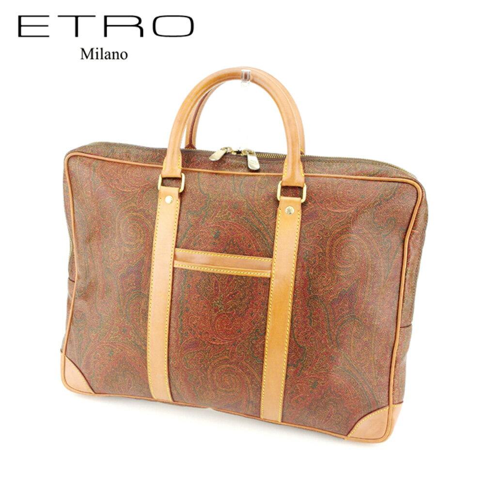 【中古】 エトロ ETRO ブリーフケース ビジネスバッグ レディース メンズ 可 ペイズリー ブラウン PVC×レザーブリーフケース T7192s .
