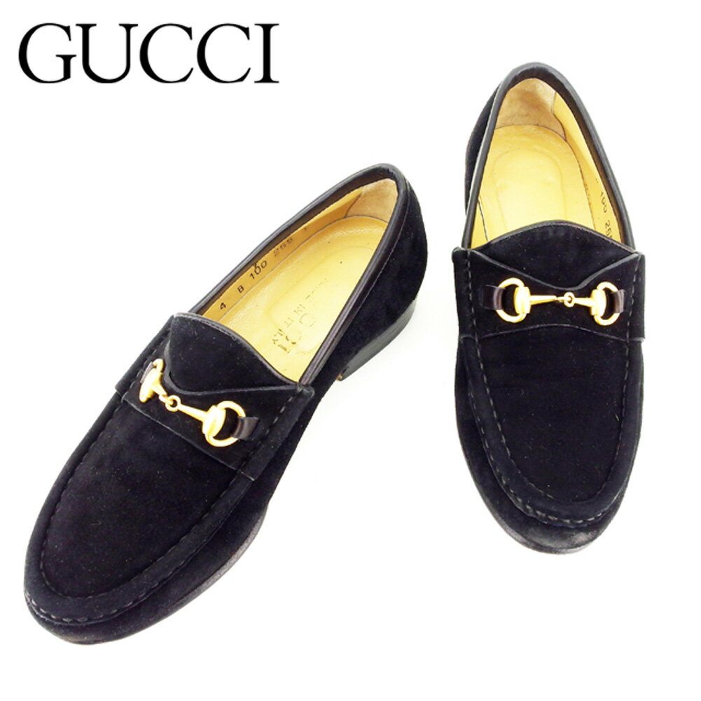 【中古】 グッチ Gucci ローファー シューズ 靴 レディース #4サイズ ビット金具 ブラック スエード 人気 セール T7213