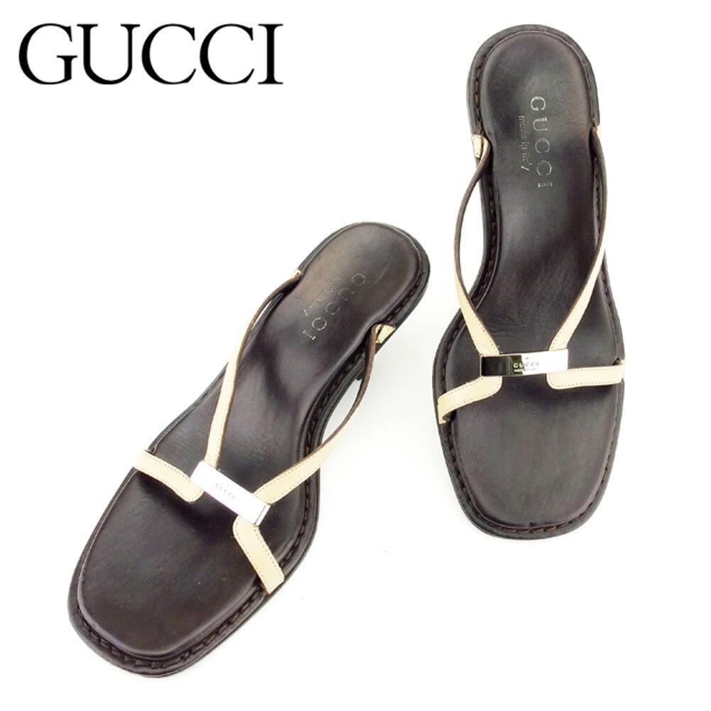 【中古】 グッチ Gucci サンダル シューズ 靴 ブラウン ベージュ #34ハーフ レディース T7215s