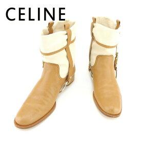 4f1f3b423b2d 【中古】 セリーヌ CELINE ブーツ シューズ 靴 メンズ可 #38 ベージュ ライトブラウン キャンバス