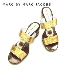 【スーパーSALE】 【20%オフ】 【中古】 マークバイマークジェイコブス MARC BY MARC JACOBS サンダル シューズ 靴 レディース #38 シルバー ゴールド ブラウン レザー 【マークバイマークジェイコブス】 T7371